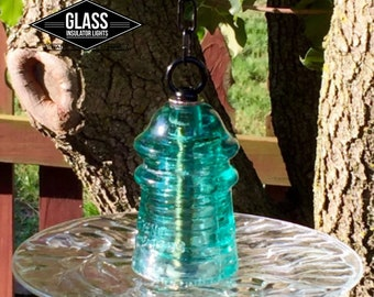 Bird Feeder - Glass Bird Feeder  Hanging Glass Insulator Bird Feeder / Bird Bath - Reclaimed Hemingray Blue Gifts Gift Idea