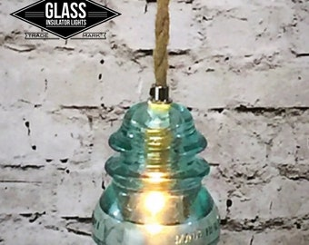 Glass Insulator Light - Insulator Pendant Light - Icy Blue & Rope Pendant Light - Pendant Light - Insulator Light - Glass Pendant Light