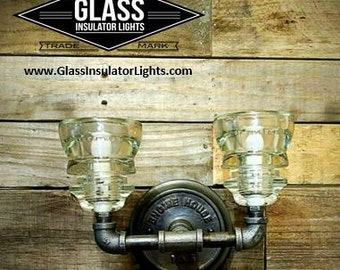 "Vanity Lighting - Pipe Light - 10 1/2""  Glass Insulator Pipe Sconce Pipe Wall Light - 2 Glass Insulator Vanity Light"