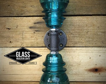 Pipe Light - Glass Insulator Industrial Pipe Sconce Pipe Wall Light - Double Insulator Light Bathroom Lights