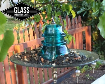 Glass Insulator Bird Feeder - Handcrafted from Reclaimed Hemingray 42 Telegraph Insulators