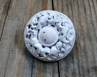 Distressed White Knobs - Round Cast Iron Farmhouse Knob