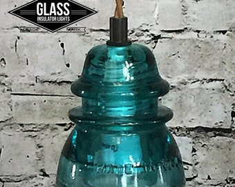 LED Insulator Pendant Light - Blue Green Hemingray Glass Insulator Pendant Light