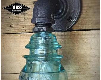 Glass Insulator Light -Sconce - Bathroom Light - Pipe Lamp - Wall Light - Wall Lamp - Industrial Lamp