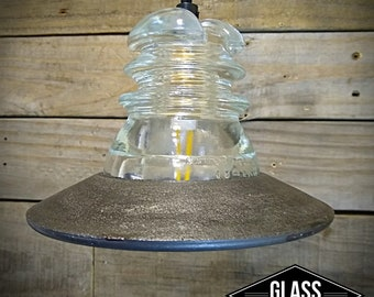 Pendant Light - Industrial Pendant Lighting - Vintage Glass Insulator Pendant Lamp  Industrial Pendant Light - Industrial Kitchen Light