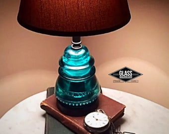 Glass Insulator Lamp Blue Green - Glass Insulator Light - Insulator Lamps - Vintage Farmhouse Rustic Table Lamp  Accent Lamp Antique Lamps
