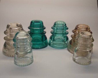 6 Glass Insulators - Hemingray 42 Glass Insulator - Whitall Tatum Glass Insulator - Aqua Straw Blue Green Ice Blue