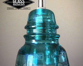 Handmade Glass Insulator Pendant Track Light - Blue Hemingray Insulator Light - Vintage Teleagraph Insulator Lighting Track Light Pendant