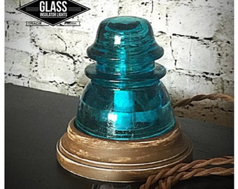 Glass Insulator Lamp - Glass Insulator Light - Insulator Light -LED Glass Insulator Table Accent Lamp - Glass Lamp Vintage Rustic Farmhouse