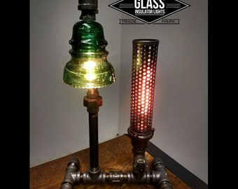 Pipe Lamp / Steam Punk Lamp / Industrial Lighting / Glass Insulator / Insulator Light / Glass Insulator Lamp / Pipe Lighting Lamp Plug In