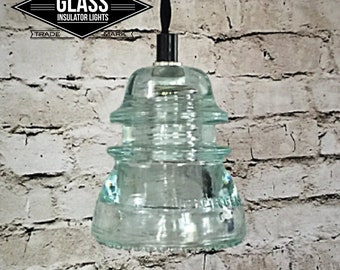 Glass Insulator Light - LED Glass Insulator Pendant Lights - Vintage Hemingray 42 Ice Blue Insulator Insulator Light Track Lighting Pendant