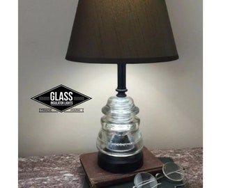 Insulator Lamp - Vintage Glass Insulator Lamp Clear Hemingray Rustic Lamps Glass Insulator Lights