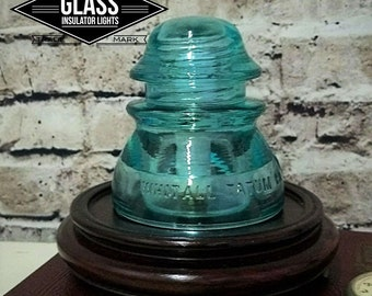 Glass Insulator Lamp - Vintage Glass Insulator Lamp - LED Accent Lamp