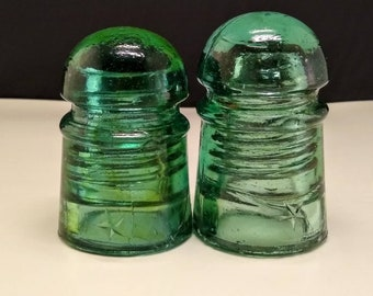 Glass Insulators - CD 102  Star Pony Insulators - Aqua and Green Aqua