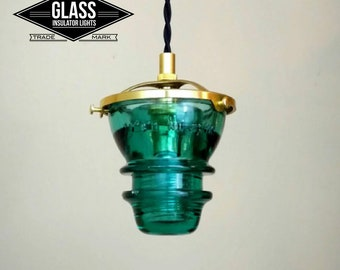 Glass Insulator Pendant Light - LED Insulator Pendant Light - Vintage Telegraph Insulator