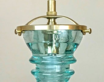 Pendant Light - Glass Insulator Light - LED Glass Insulator Pendant Light - Antique Glass Insulator - Hemingray Blue