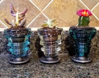 Succulent Planter - Glass Insulator Succulent Planter - Succulent Gift - Succulent Pots - Kitchen Planter Gift Idea - Father's Day