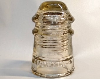 Glass Insulator - Maydwell #9 Insulator, Straw Insulator w/ Sharp Drip Points, CD 106 - Pony Insulator