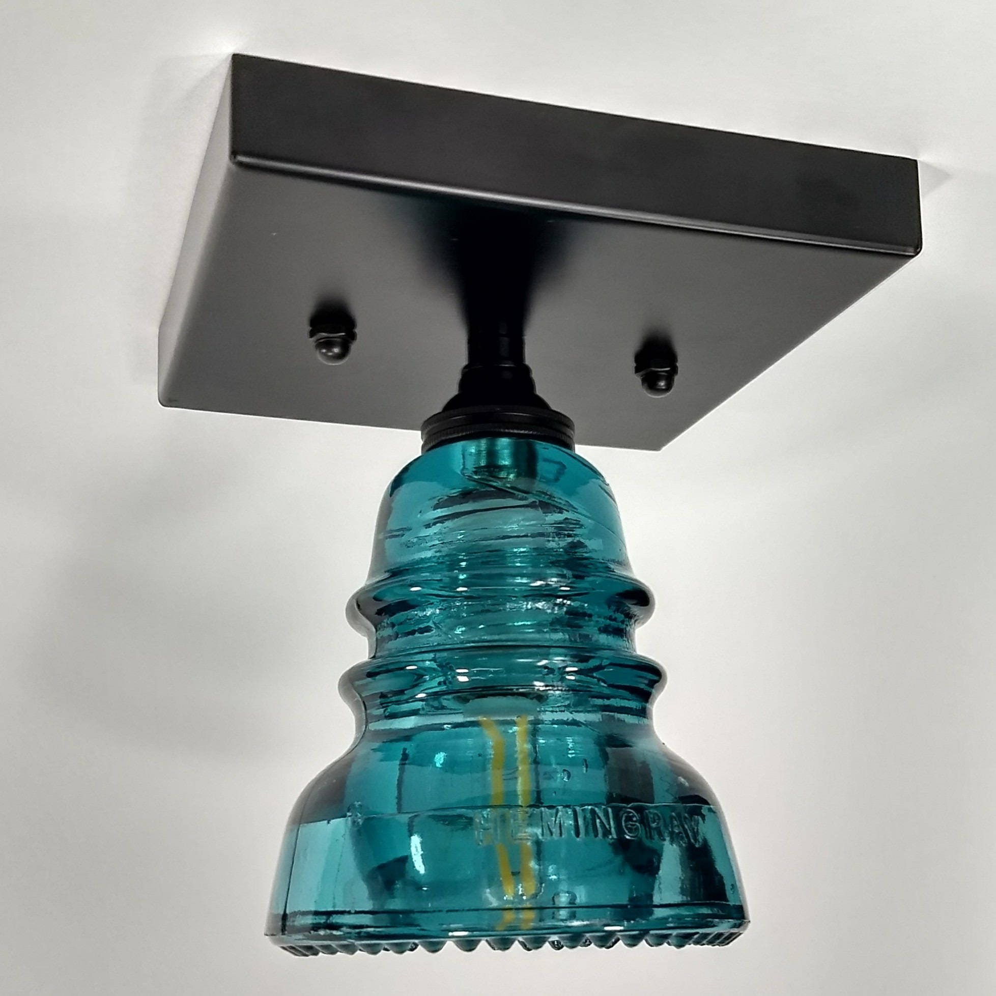 Flush Mount Ceiling Light - Glass Insulator Light - Glass Insulator ...