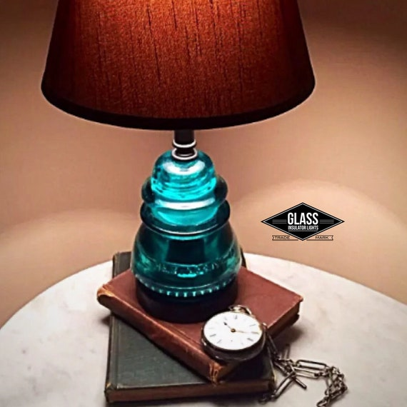 Glass Insulator Lamp Blue Green Glass Insulator Light Etsy