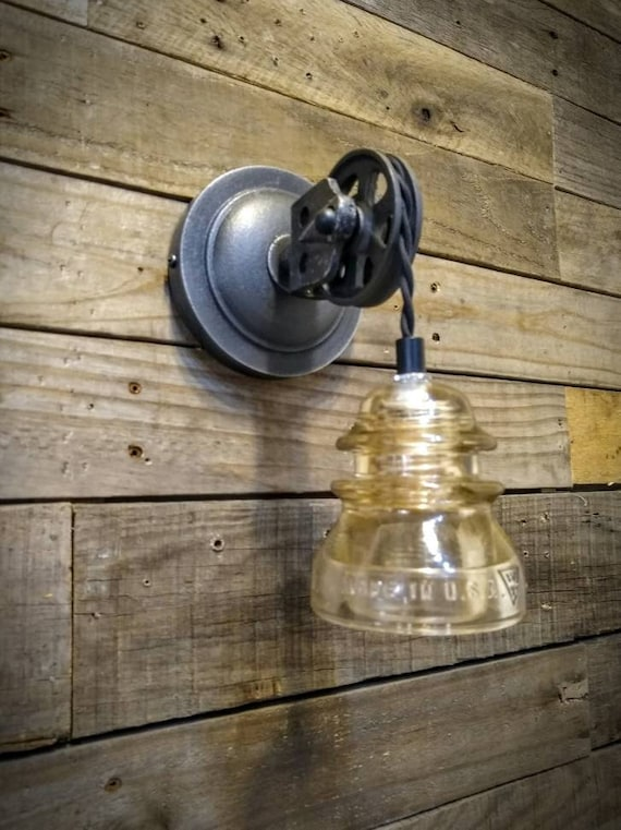 Pulley Wall Sconce Glass Insulator Light Vintage Pulley Light Industrial Lighting