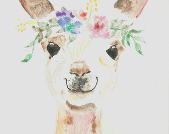 Princess Llama Greeting cards (Pack of 5) 4 x 6 Watercolor painting