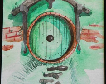 The green door 4 x 6 postcard watercolor painting Pack of 5