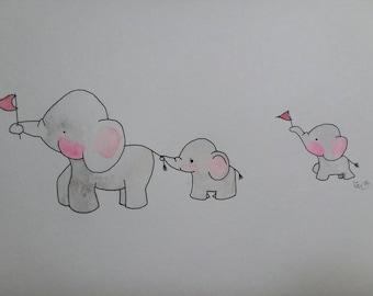 Elephants Follow the Leader Nursery Decor children's room art print