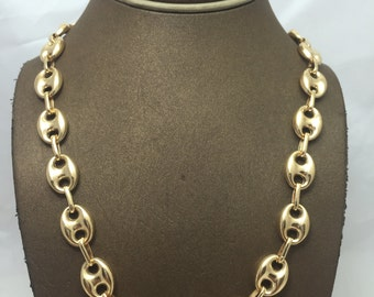 4bc7d78f4a1 10K Solid Yellow Gold 12MM Hollow Puff Gucci Chain (Available in Multiple  Lengths) Christmas Gift. Birthday Gift. 10k Gold Chain for Men