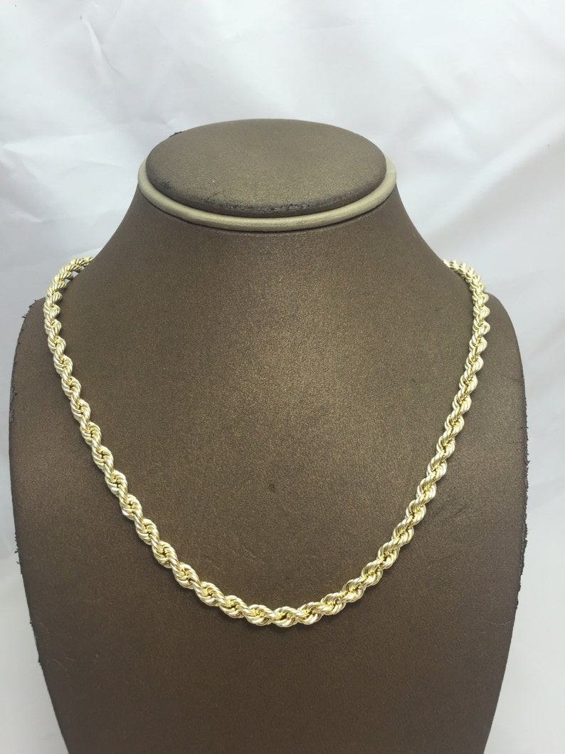 8a3f0669fa1fc 10K Solid Yellow Gold 5MM Hollow Rope Chain (Available in Multiple Lengths)  Christmas Gift. Birthday Gift. 10k Gold Chain for Men