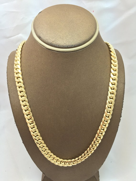 be4f9c68f5b99 10K Solid Yellow Gold 9.5MM Hollow Miami Cuban Chain (Available in Multiple  Lengths) Christmas Gift. Birthday Gift. 10k Gold Chain for Men