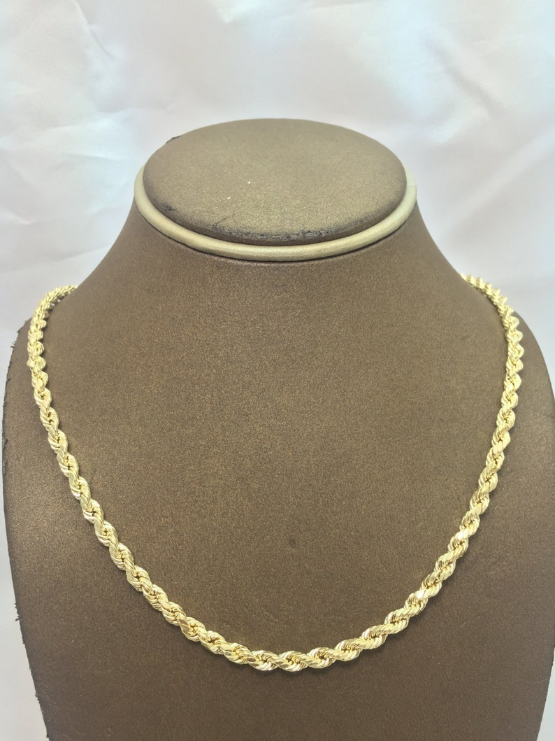 f802207c3 10K Solid Yellow Gold 4MM Hollow Diamond Cut Rope Chain   Etsy