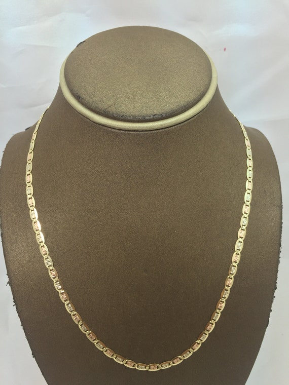 "14K Real Yellow Gold Light 1.2mm Valentino Chain Necklace 16/"" Baby /& Children"