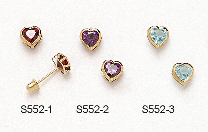 4b8f06145 14K Yellow Gold Heart Shaped Screwback Earrings Available in   Etsy