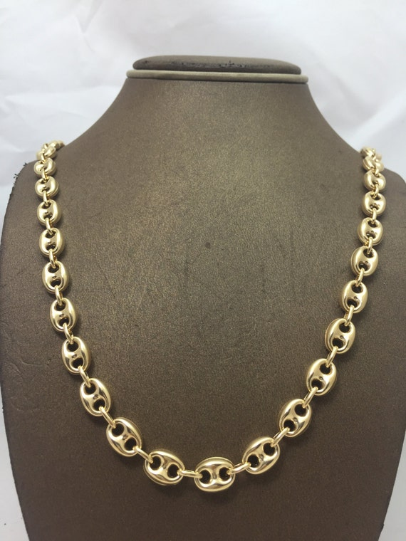 10K Solid Yellow Gold 8MM Hollow Puff Gucci Chain Multiple  cb3e25ac920c