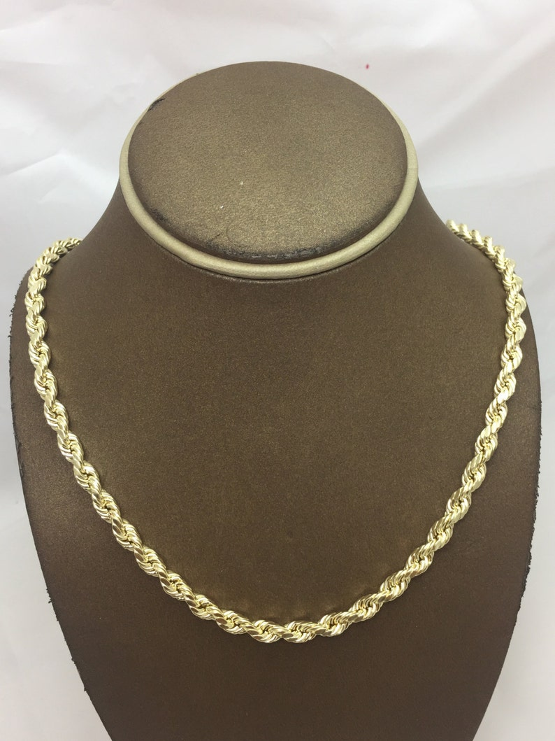 7a4d945c2c46b 10K Solid Yellow Gold 6MM Hollow Diamond Cut Rope Chain (Multiple Lengths).  Christmas Gift. Birthday Gift. 10K Gold Chain for Men.