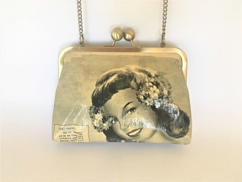 Vintage Style Clutch Purse Made Of 1950s Tempo Magazine image 0