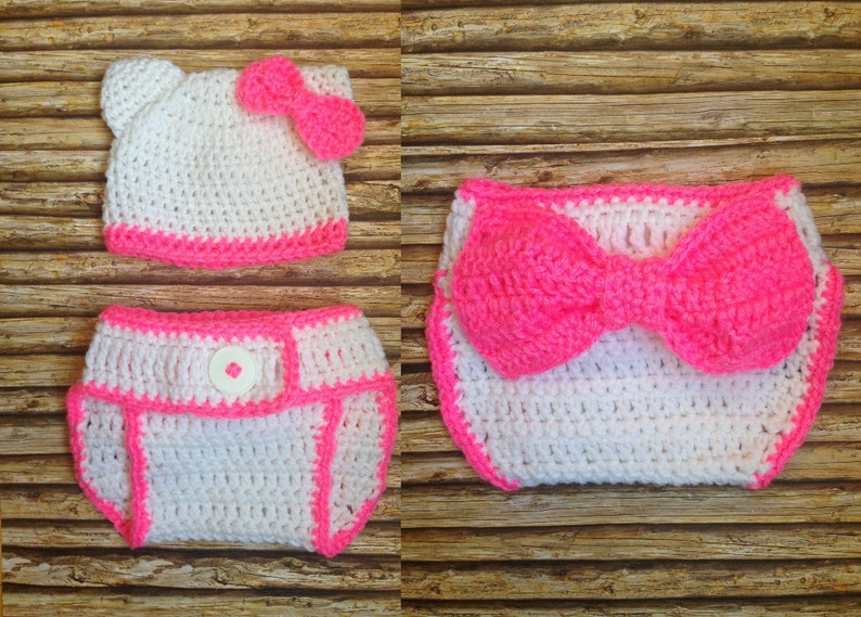 "Newborn Baby /""Hello Kitty/"" Hat and Diaper Cover-Hand Crochet-Photo Prop"