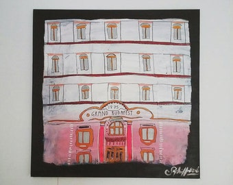 The Grand Budapest Hotel Painting on Canvas, Wes Anderson Film Fan Art