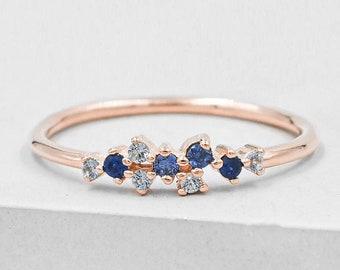 Twilight Cluster Ring - Rose Gold & Blue - Sapphire Ring   Aquamarine Ring   promise ring, wedding ring, star ring   September birthstone