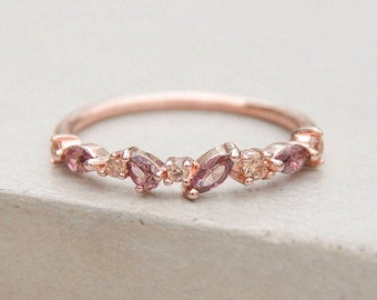 2b489a789 Cluster Ring - Rose Gold + Pink | Petite Ultra Thin Stacking Ring with CZ  Stones - ROSE GOLD | Promise ring | Wedding Ring | R1057RPNK