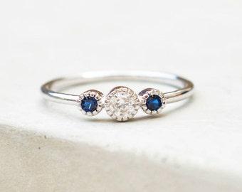 Dainty, Feminine 3-Stone Milgrain Bezel Stacking Ring thin band - SILVER/SAPPHIRE stone -fashion ring promise ring wedding engagement ring