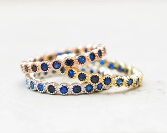 Set of 3 2mm Full Milgrain Bezel Eternity Bands Multicolor, Gold, Rose Gold, Silver, sapphire blue stacking rings, wedding ring promise ring