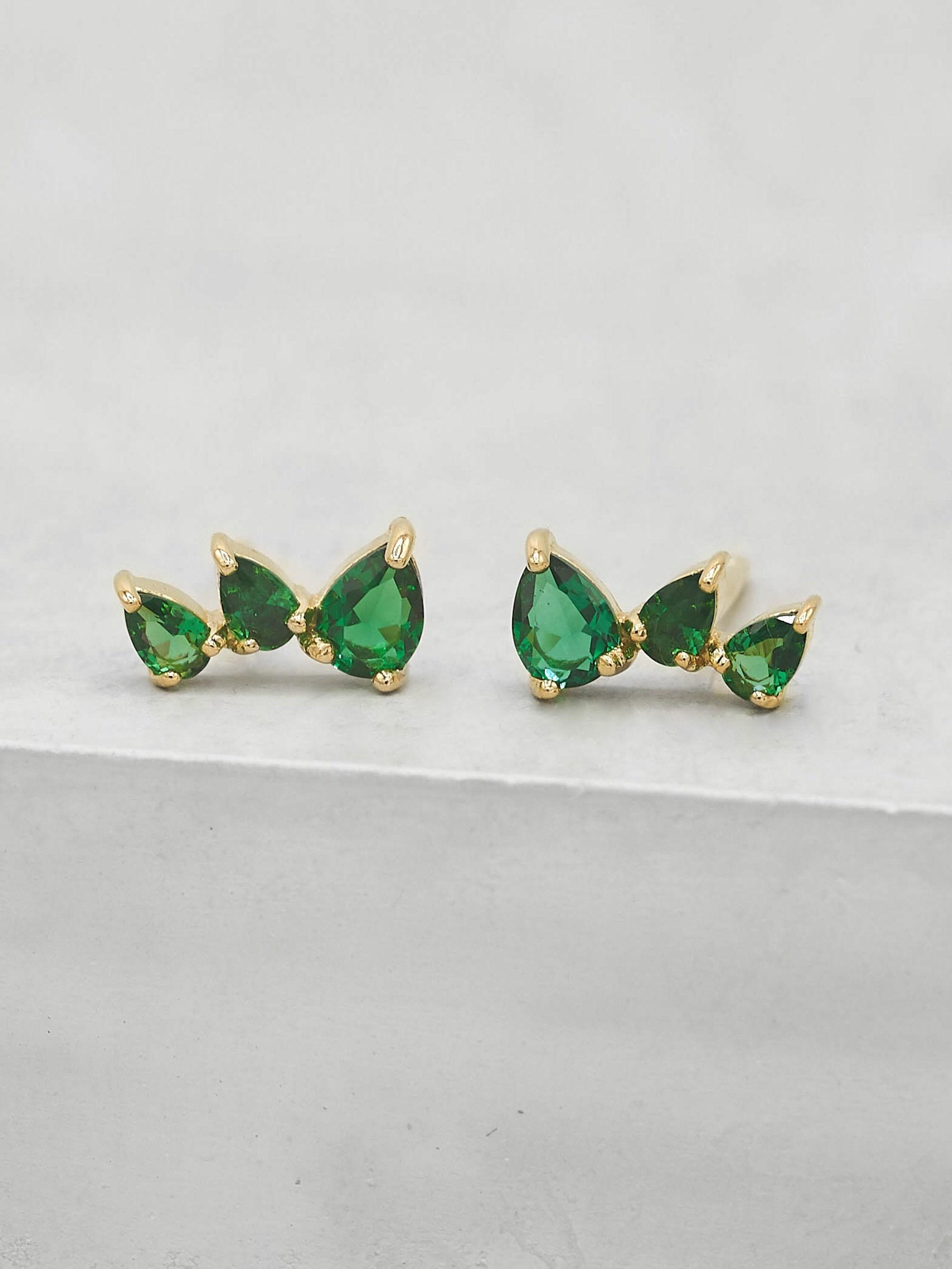 3 Stone Mini Ear crawlers Gold Emerald Studs May Birthstone  E1009GGR Gold Ear Climbers Green Earrings Green Teardrop Crawlers