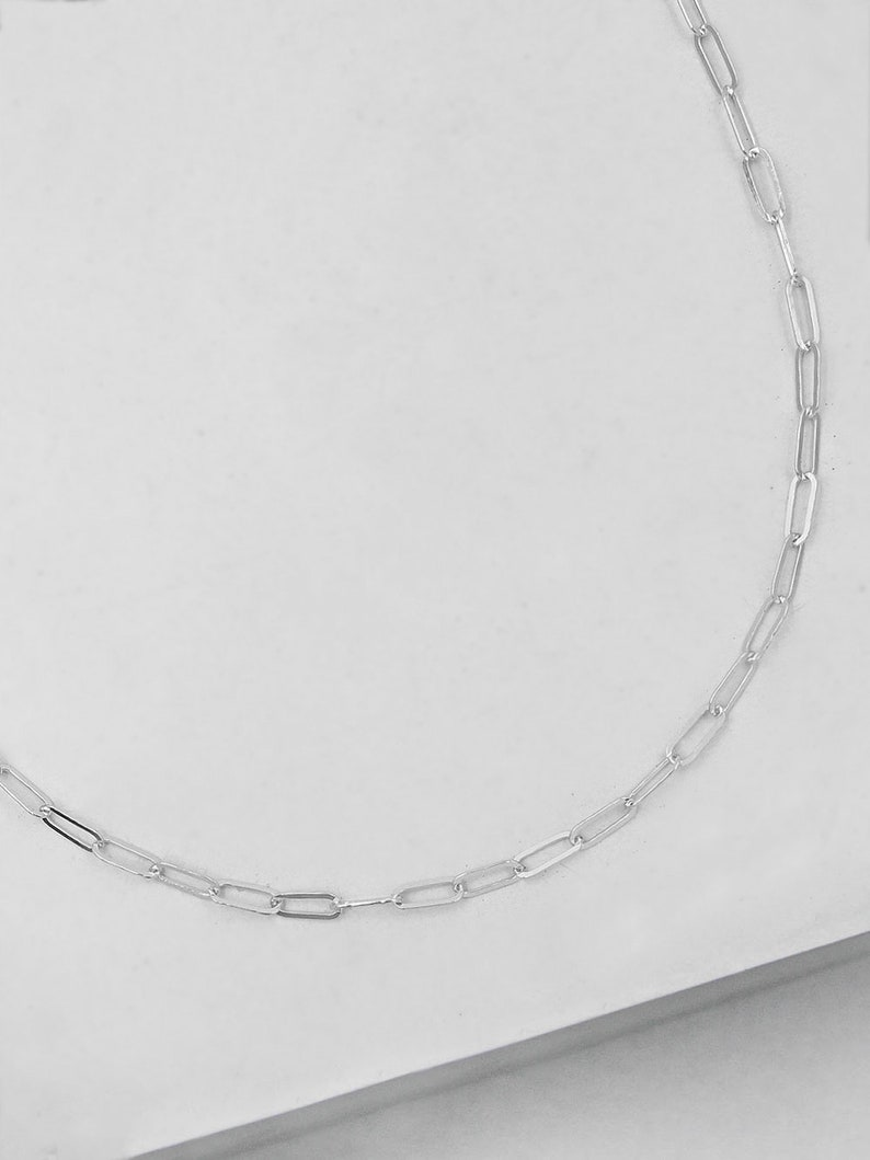 link chain Mini Paperclip Necklace Silver Silver necklace Silver Paperclip chain Sterling Silver Chain Silver elongated Chain