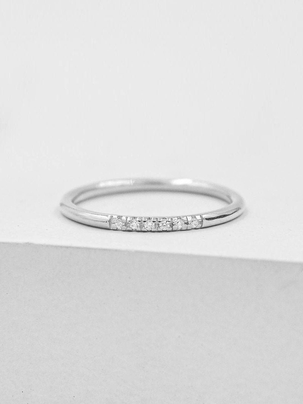Thin Ring Mini Eternity Band Rose Gold Promise Ring Ring with 6 micropave CZ Stones Petite Stacking Ring Dainty Ring