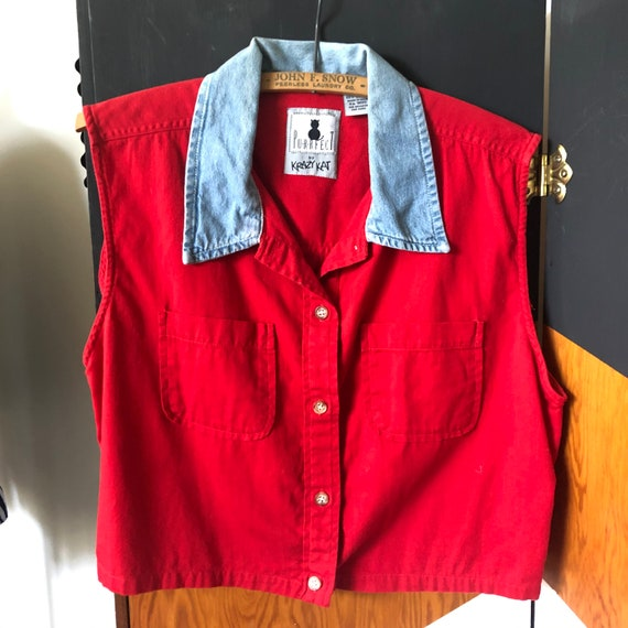 Vintage 1990s Purrfect Red and Chambray Sleeveless