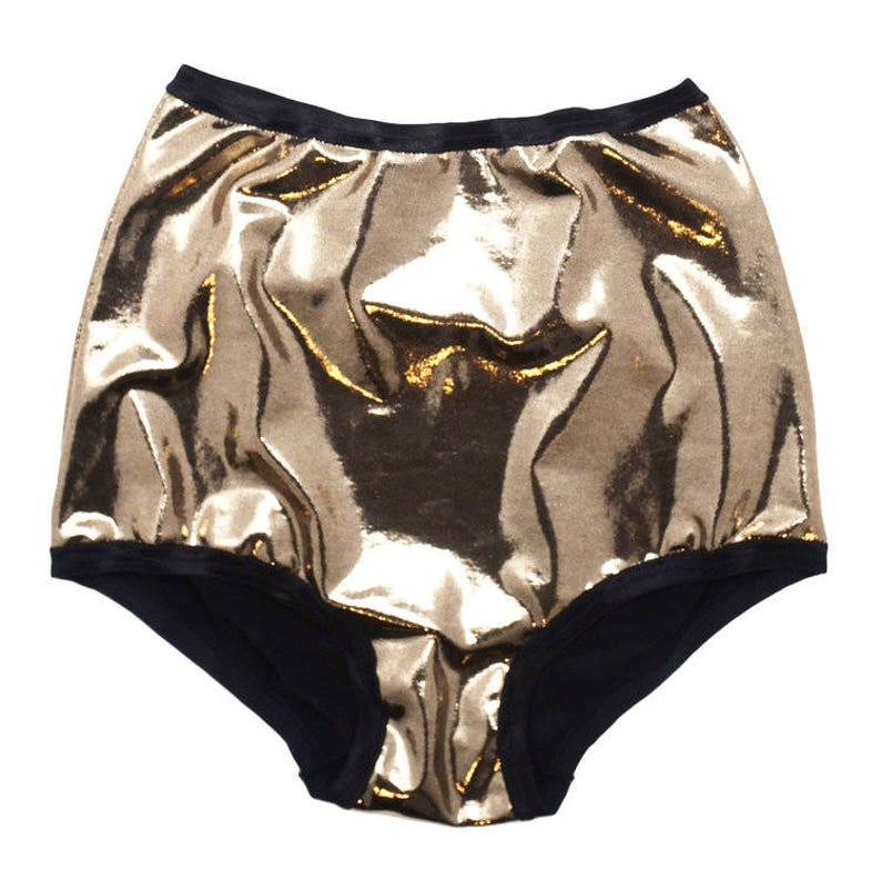 9981b0322f Gold High Waist Underwear Pin Up Lingerie Shiny Panties