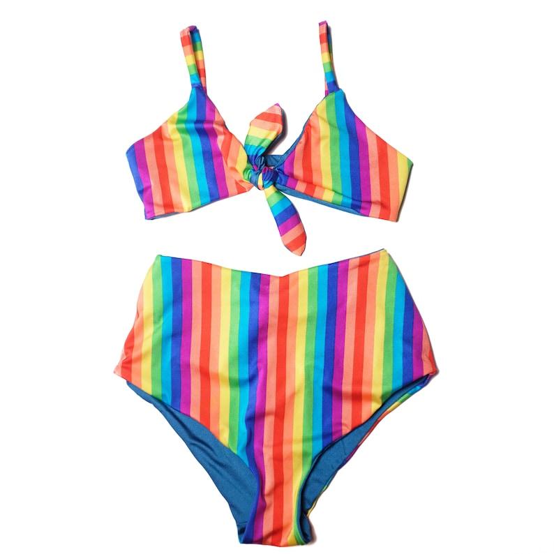 6717c8de5520d Rainbow Bikini Striped Two Piece Reversible Bathing Suit