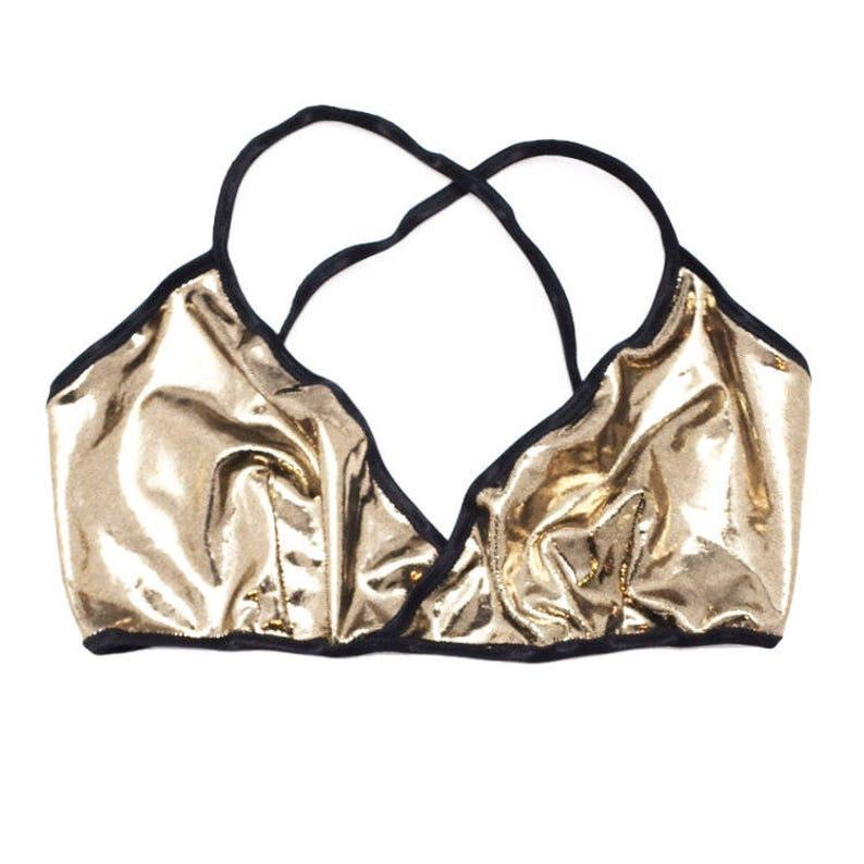 ad4c00b67b3d41 Gold Bralette Wrap Bra Cross Back Bra Little Luxuries Glam